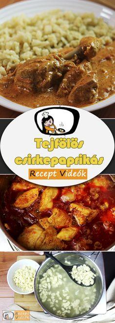 TEJFÖLÖS CSIRKEPAPRIKÁS RECEPT ELKÉSZÍTÉSE VIDEÓVAL French Toast, Breakfast, Recipes, Food, Morning Coffee, Essen, Meals, Ripped Recipes, Eten