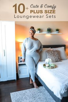 Plus size loungwear that is perfect for a work from home outfit Plus Size Crop Tops, Plus Size Kimono, Plus Size Skirts, Plus Size Outfits, Lounge Outfit, Lounge Wear, Big Girl Fashion, Fashion Looks, Curvy Fashion