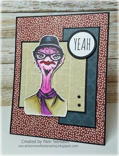 """airbornewife's stamping spot: Day 13 #thedailymarker30day Color Challenge """"HIPSTER CARDS"""" using Tim Holtz Stampers Anonymous Hipster stamps MOJO488 *w/measurements"""