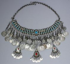 A magnificent silver kirdan necklace from Syria.