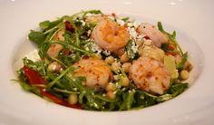 Lemon-Garlic Sauteed Shrimp Salad with fregula, piquillo peppers, grilled artichoke, arugula, crumbled feat and toasted cumin vinaigrette | Green Valley Grill Menu - Greensboro NC