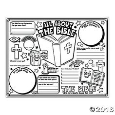 "Color Your Own ""All About the Bible"" Posters - Discontinued Bible School Crafts, Sunday School Crafts, Bible Crafts, Bible Study For Kids, Bible Lessons For Kids, Kids Bible, Bible Games, Bible Activities, Group Activities"