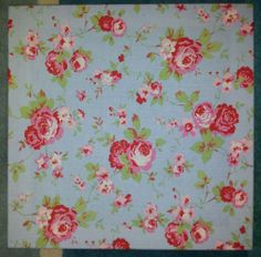 for Ikea Rosali Blue Floral Rose Shabby Chic Fabric Canvas Picture