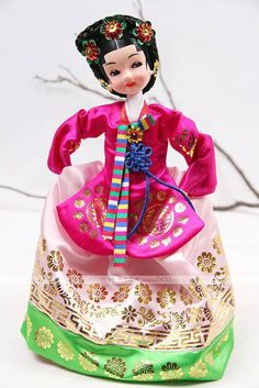 doll dressed in a beautiful hanbok