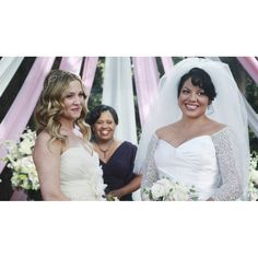 Brides.com: . Callie and Arizona on Grey's Anatomy. Callie and Arizona's wedding on Grey's Anatomy marked an important moment in TV for many reason. We love how the girls wore dresses that reflected their personalities for their same-sex nuptials.