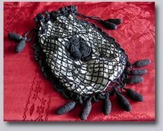 Exceptional Antique Victorian Half Mourning Purse Handbag Reticule ~ Fancy