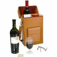 """Hand-picked by celebrity interior designer and Design Camp cofounder Lori Dennis, this stylish essential is perfect for picnics in the park and on-the-go adventures.  Product: Wine tote, 2 wine glasses, and corkscrewConstruction Material: Leather, acrylic, and stainless steelColor: BlackFeatures:  Removable and adjustable seperatorHandy front pocketHolds two standard wine bottles Dimensions: 13"""" H x 4.5"""" W x 3.6"""" D (wine tote)"""