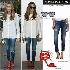 WHAT SHE WORE: she wore white blouse, blue skinny distressed jeans by AG Adriano Goldschmied, red open toe sandals by Aquazzura and black We...