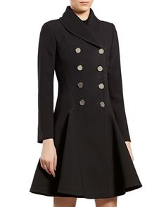 Black Flared Coat by Gucci at Neiman Marcus.
