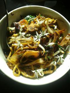 Homemade chicken noodles w/ wild garlic blossoms