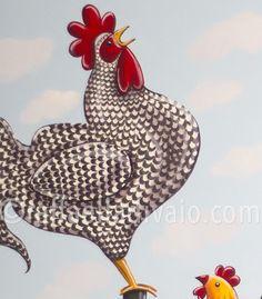raffaelladivaio*illustrazione e creatività: SVEGLIA, E' DOMENICA! il gallo del pollaio. acrilico su tela cm. 120x80, particolare ©raffaelladivaio.com2016
