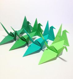 Green Origami Cranes Origami Garland Cake Toppers Mobile