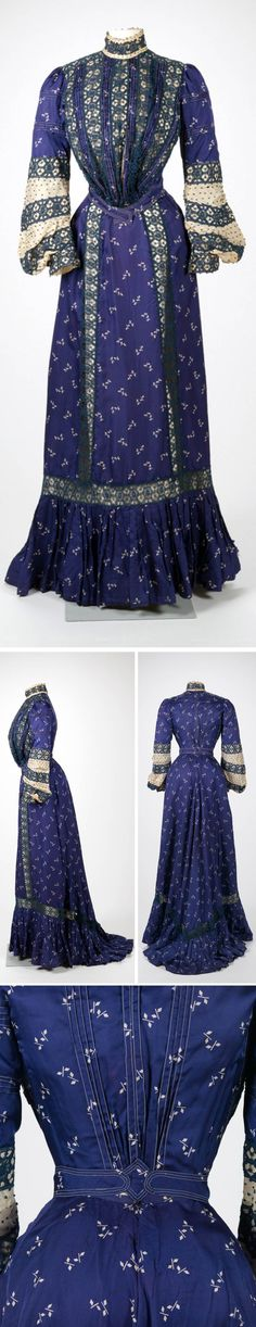 Day dress, Rose Carraer-Eastman, American, 1900. Printed silk, lace trim, silk taffeta embellished with French-knot embroidery. Rhode Island School of Design Museum
