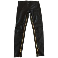 Pre-owned Slim Leather Pants 40 FR ($1,065) ❤ liked on Polyvore featuring pants, black, slim pants, sexy pants, balmain, elastic pants and leather zip pants