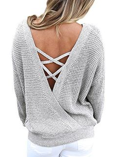 ZKESS Women's Casual Winter Loose Round Neck Pullover Criss Cross Backless Oversize Sweaters Knit Jumper Gray L - Beautife Womens Sexy Criss Cross Backless Slouchy Oversized Pullover Sweaters The V Neck and crisscross straps on back Open Backless looks sexy and fashion, Front round neck long sleeve cut out top make you different. Featuring crisscross backless and a solid color,this oversize top is super comf...