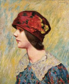 Girl with Red Flowered Hat ~ Federico Zandomeneghi ~ (Italian: 1841-1917)