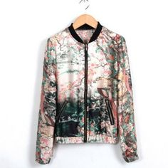 $19.82 Stand Collar Ink Painting Print Zipper Women's Spring Coat