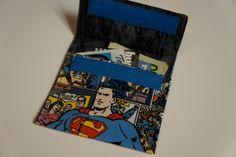 SUPERMAN WALLET Fabric Credit Card Holder by buckshotinc on Etsy https://www.etsy.com/listing/176879511/superman-wallet-fabric-credit-card