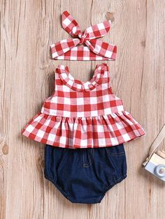 Shorts Set Red Sleeveless Bow knot Dress For Babies Girls Source by sets clothes Baby Girl Dresses, Baby Dress, Baby Girls, Plaid Fashion, Kids Fashion, Trendy Fashion, Short Outfits, Kids Outfits, Denim Shorts Outfit