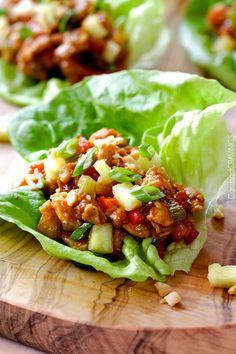 Asian Chicken Lettuce Wraps with Pineapple Hoisin Peanut Sauce!