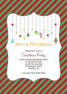 printable christmas party invitations red and green or pink and red with hearts free customizable diy project for the holidays