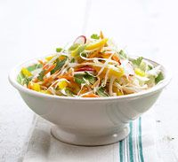 Garden Slaw with Spicy Asian Dressing (switch to olive oil & a dab of honey & it looks like a winner!)