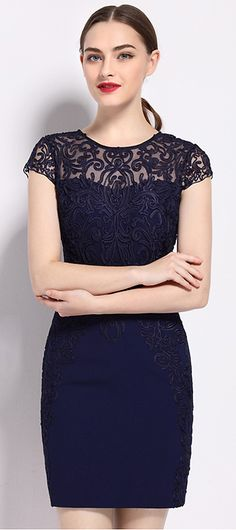 Sexy Pure Color Lace Hollow Short Sleeve Bodycon Dress