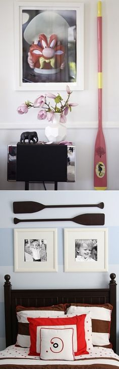 Decorate your room with paddles for nautical design