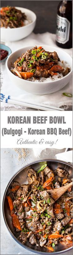 Korean Beef Bowl (Bulgogi) - Easy to make with ingredients from the supermarket. Great marinade!