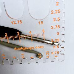 At last, a gauge that can measure crochet hooks and knitting needles! Knitting Gauge, Knitting Needles, Gauges, Crochet Hooks, Vintage, Ears Piercing, Ear Plugs, Primitive