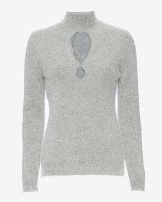 Zimmermann Arcadia Fluffy Sweater: Grey: High neckline. Cut out figure 8 at back. Long sleeves. In grey. Fabric: 70% angora/30% nylon Made in China. Model Measurements: Height 5'10 1/2; Waist 24 ; Bust 31 wearing size 1 Length from shoulder to hem: ...