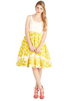 Frockin' on Sunshine Dress. Rays of sunshine combine with your bright yellow-and-white dress - a ModCloth exclusive - to make quite the stunning pair.  #modcloth