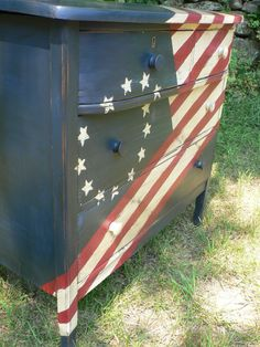 CustoM order red white   blue BETSY ROSS flag by CedarappledesignsAmerican Flag Distressed Dresser Custom Made   I Love Flags  . Red White And Blue Painted Furniture. Home Design Ideas
