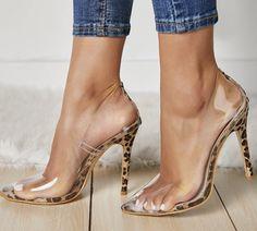 Sexy New PVC Transparent Leopard Grain Pumps Heel Stilettos High Heels Women - Shoes Studded Heels, High Heels Stilettos, High Heel Boots, Stiletto Heels, Wedge Heels, Heeled Sandals, Navy Sandals, Prom Heels, Black Heels