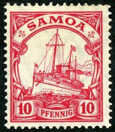 "German Samoa 1915 Scott 72 10pf carmine ""Kaiser's Yacht"", ""Hohenzollern II""; Wmk 125 ""Lozenges"""