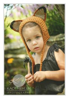Sweet Lil' Fox Hat - Eco Friendly  Baby Bonnet- Hand Knit - Halloween Costume. $38.00, via Etsy.