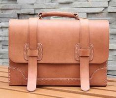 Image of Vintage Handmade Genuine Natural Vegetable Tanned Leather Briefcase Satchel Messenger Bag Case (m27)