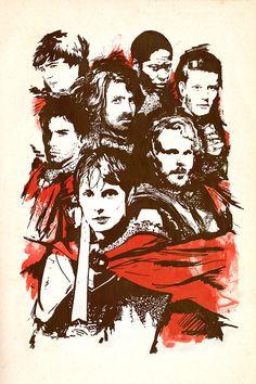 The Knights of Camelot BBC Merlin Print by elleisamonster on Etsy Merlin And Arthur, King Arthur, Merlin 2, Merlin Fandom, Merlin Colin Morgan, Superwholock, Favorite Tv Shows, Supernatural, Geek Stuff