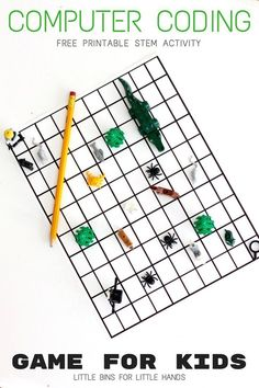 Algorithm Coding Game and Screen Free Computer Coding for Kids Algorithm coding game for kids. Free printable screen-free computer coding activity for kids in preschool, kindergarten, and early elementary school. Computer Coding For Kids, Computer Lab Lessons, Gaming Computer, Computer Science, Gaming Setup, Activity Games For Kids, Free Games For Kids, Stem Activities, Creative Activities