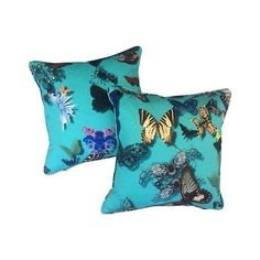 Image of Christian Lacroix Blue Butterfly Pillows - A Pair