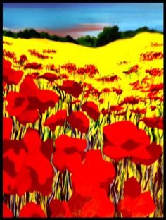 A new painting.  I keep seeing these red flowers in a field of blue and gold. This is a larger painting 2x3 feet.