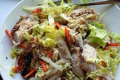 Five spice grilled chicken and daikon radish and napa cabbage slaw