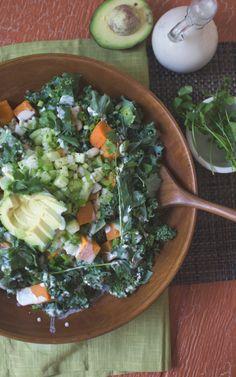 Sweet potato, kale & avocado salad with sweet cashew dressing #vegan
