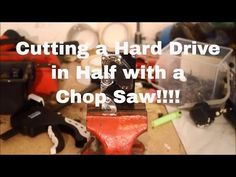 Cutting a Hard Drive in Half with a Chopsaw - Extreme Destruction - YouTube