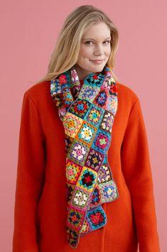 Lion Brand® Bonbons Vanna's Glamour® Little Grannies Scarf #crochet #pattern: