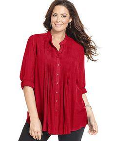 Alfani Plus Size Three-Quarter-Sleeve Pintucked Blouse - Plus Size Tops - Plus Sizes - Macy's