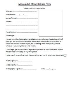 Photo Model Release Form Free   Forum   Model Release Form Template