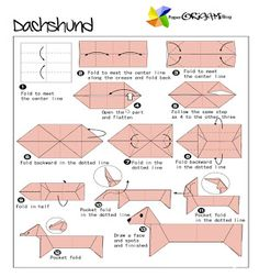 Animals Origami: dachshund ~ Paper Origami Folding Diagram
