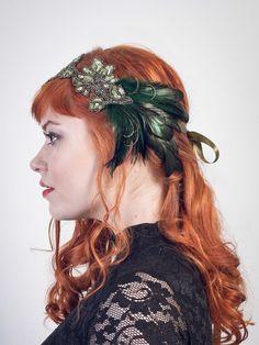Art Nouveau Flapper Feather Headband Emerald  Peacock Green // Handmade by BaroqueAndRoll on Etsy https://www.etsy.com/listing/205554031/art-nouveau-flapper-feather-headband
