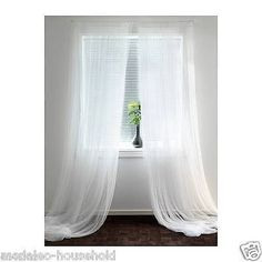 IKEA 1 x Pair of Long Sheer Floaty White Net Lill Curtains Brand 300 x280cm-B791